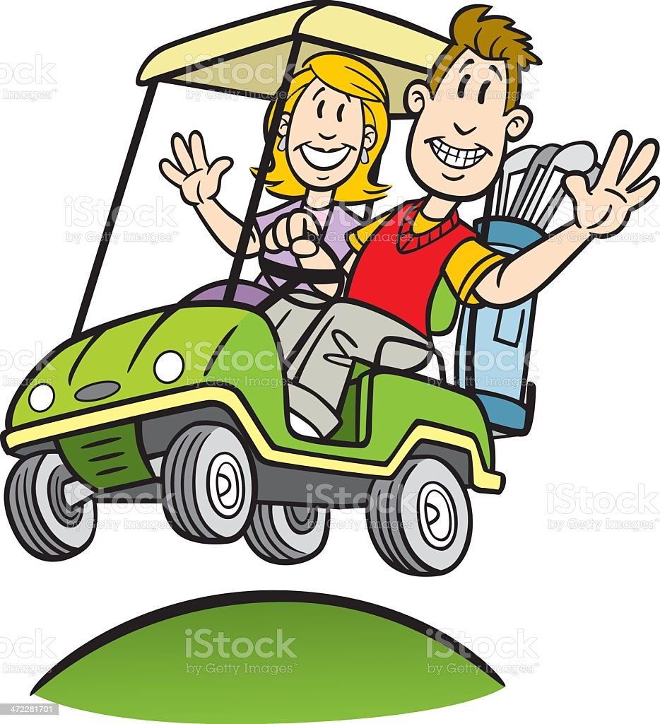Cartoon Couple In Golf Cart Stock Illustration Download Image Now Istock