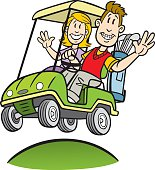 Great illustration of a cartoon couple driving a golf cart. Perfect for a golf or retirement illustration. EPS and JPEG files included. Be sure to view my other illustrations, thanks!