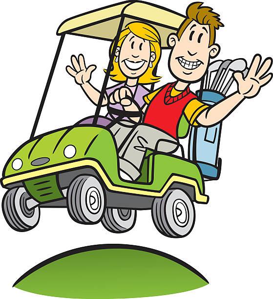 Cartoon Couple In Golf Cart vector art illustration