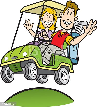 Cartoon Couple In Golf Cart Stock Vector Art & More Images ...