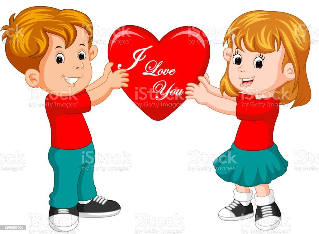 ilustração de desenho animado casal apaixonado segurando coração e