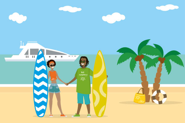 Cartoon Couple In Love Holds Surfboards On The Beach Vector Art Illustration