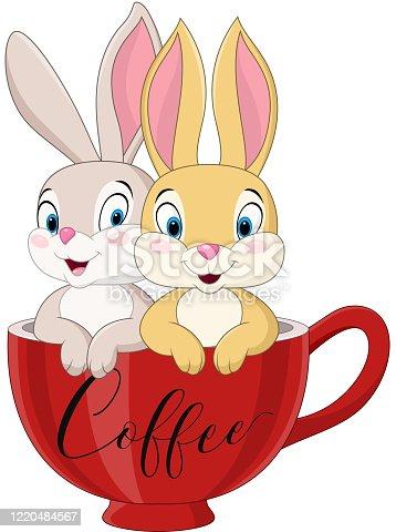 istock Cartoon couple rabbit in the coffee cup 1220484567