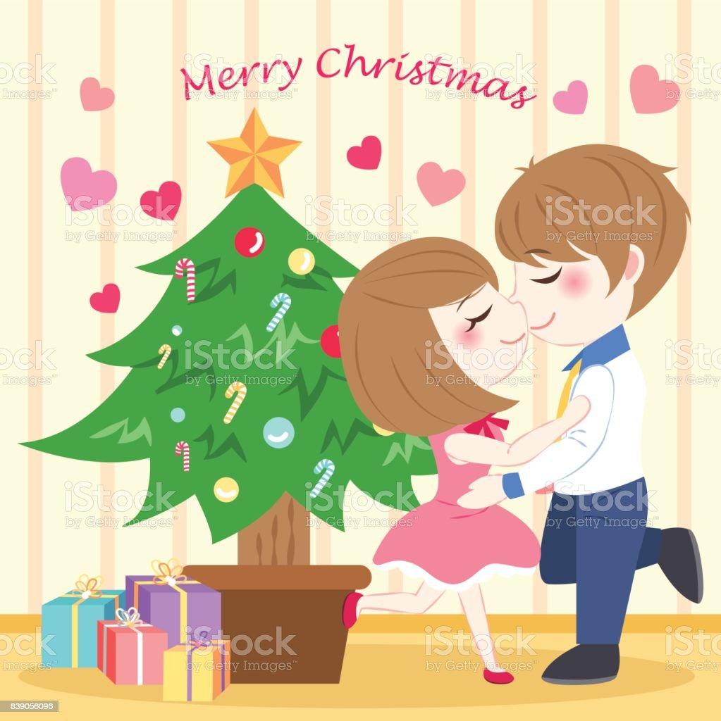 メリー クリスマスと漫画のカップル - お祝いのベクターアート素材や画像