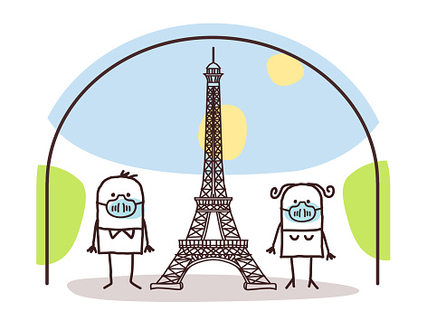 Cartoon Couple with protection Masks, near the Eiffel Tower, Contained in Paris