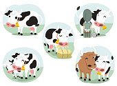 Cartoon Cow action set milking eating cows in love bovine