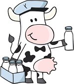 illustration of a comic cow as a milk man