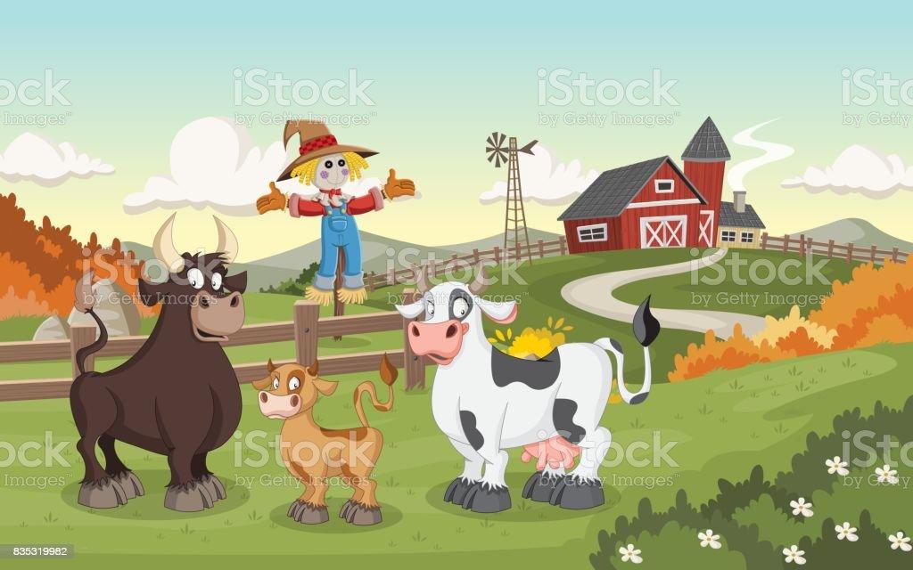 Ilustración de Caricatura Vaca Ternero Y Toro y más banco de ...