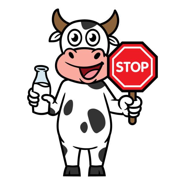 一時停止の標識とミルクの瓶を保持している漫画牛のキャラクター - 食物アレルギー点のイラスト素材/クリップアート素材/マンガ素材/アイコン素材