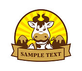 Cartoon cow character with ice cream on background with mountains - vector product label with replaceable text