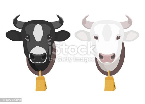 Cartoon cow heads with gold bell on the neck. Spotted black and white cows. Stock vector illustration. Cow icon isolated on white background.