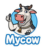 Cartoon Cow Logo, Vector EPS 10