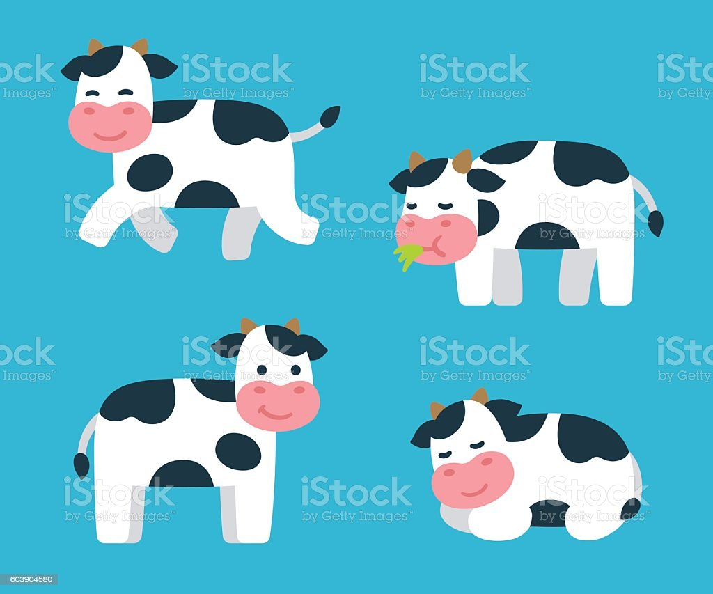 Cartoon Cow set vector art illustration