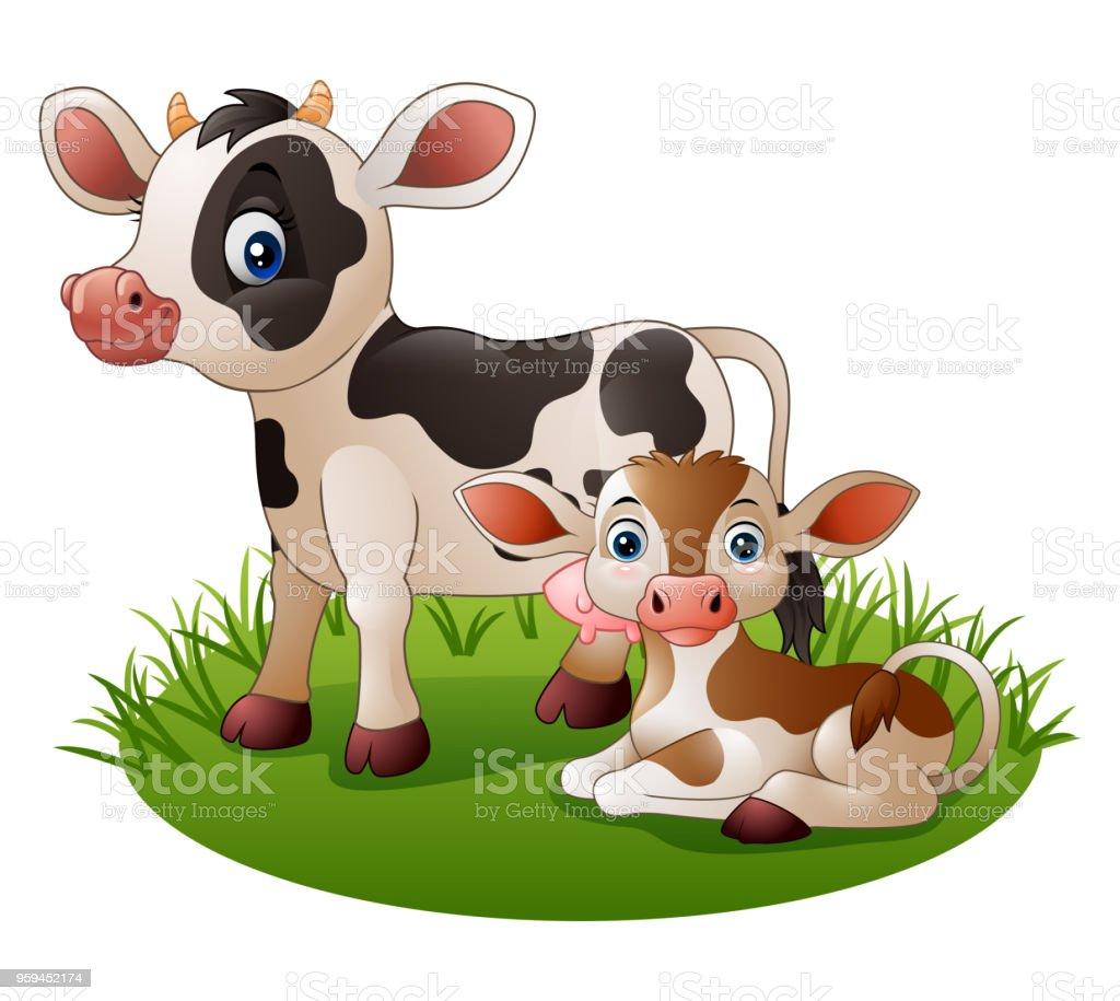 Ilustración de Vaca De Dibujos Animados Con El Ternero Recién Nacido ...