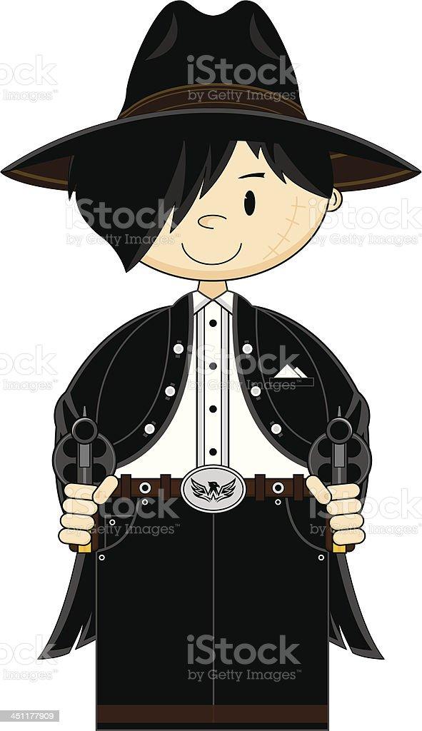 Cartoon Cowboy Gunslinger royalty-free stock vector art