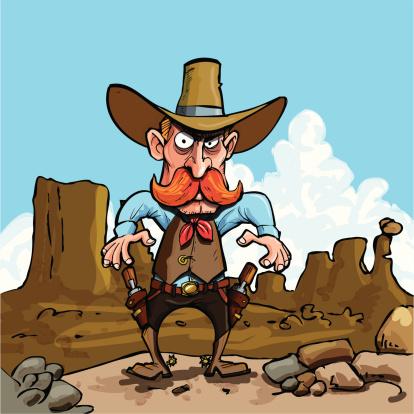 Cartoon cowboy in the badlands