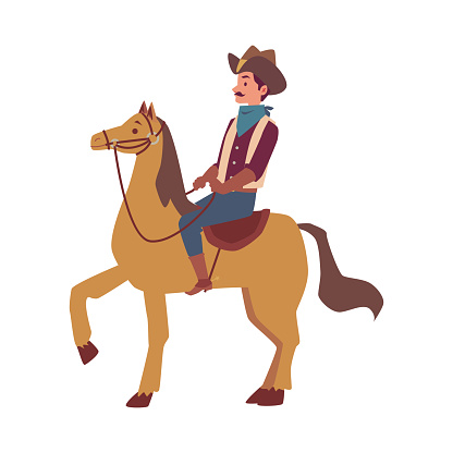 Cartoon cowboy man in costume riding a horse - horseman from Western movie