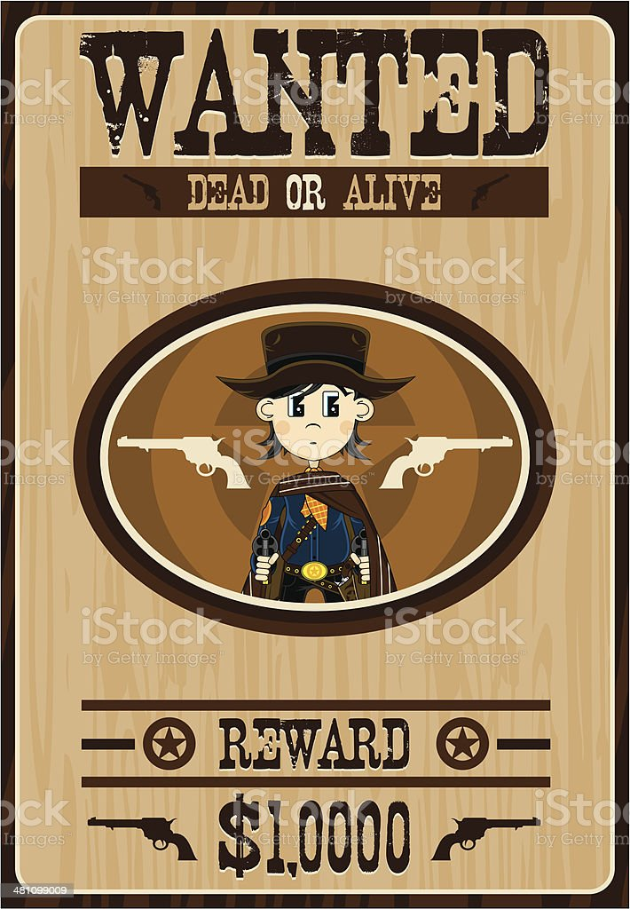 Cartoon Cowboy Wanted Poster vector art illustration