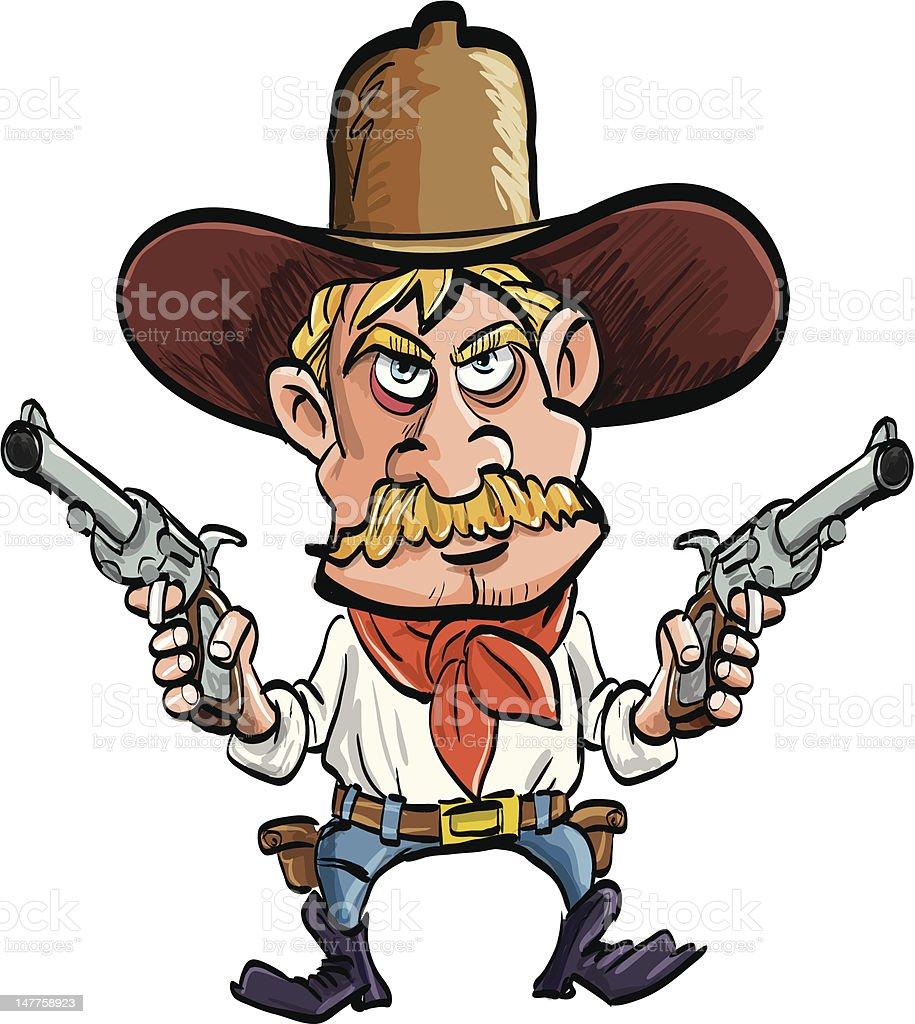 Dessin de cowboy avec ses armes tirer isol sur blanc - Dessin de cowboy ...