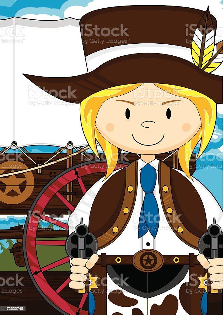 Cartoon Cowgirl & Chuck Wagon royalty-free stock vector art