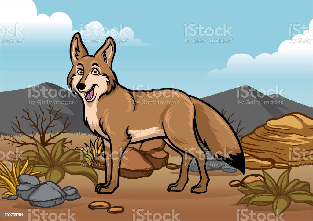 cartoon coyotes illustration in the desert vector art illustration