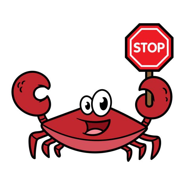 一時停止の標識を保持漫画カニ - 食物アレルギー点のイラスト素材/クリップアート素材/マンガ素材/アイコン素材