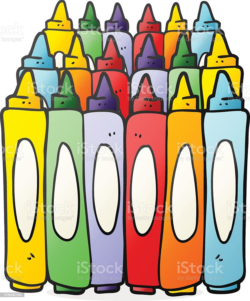 Cartoon Crayons Stock Vector Art More Images Of Bizarre 516492292 - Cartoon-pictures-of-crayons