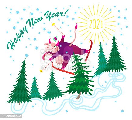 Cartoon crazy cow goes skiing from the mountain and falls on a spruce tree. Humorous winter vacation tee shirt print and Chinese 2021 New Year holidays post card, party invitation