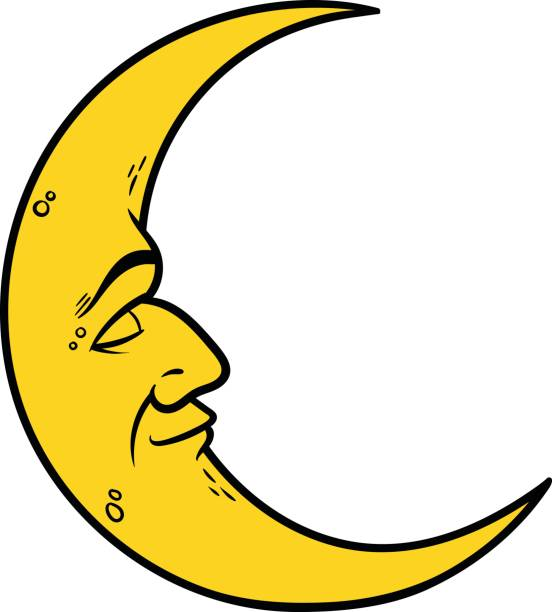 Half Crescent Moon With Face Tattoo: Best Crescent Moon Illustrations, Royalty-Free Vector