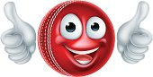 Cartoon Cricket Ball Character