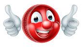 Cartoon Cricket Ball Mascot