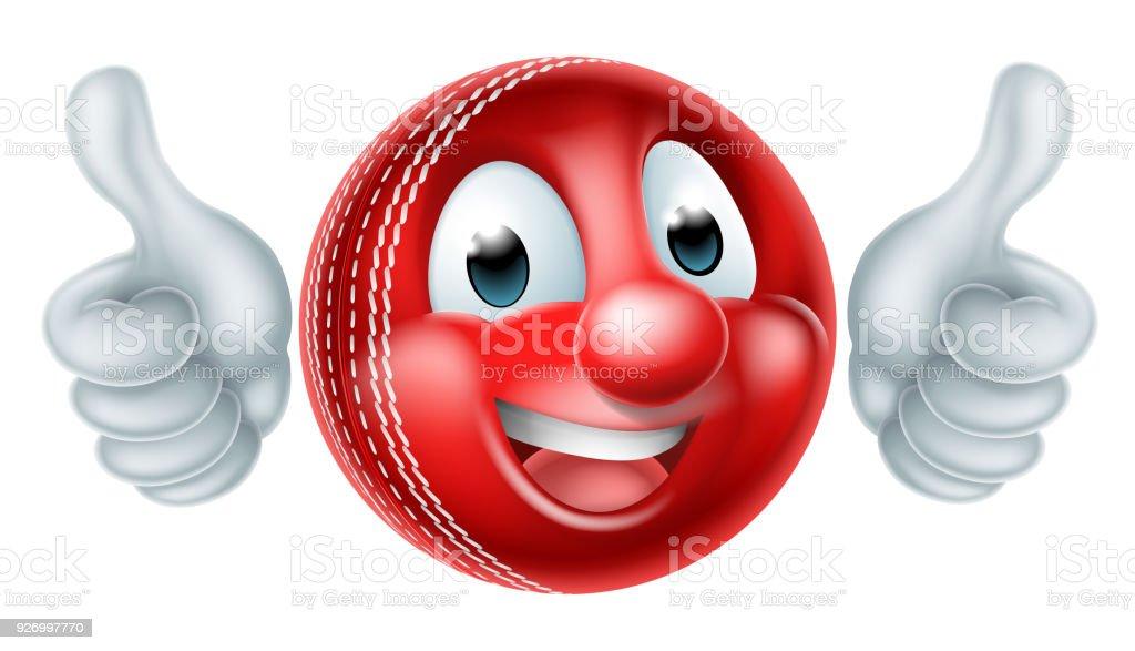 Cartoon Cricket Ball Mascot vector art illustration