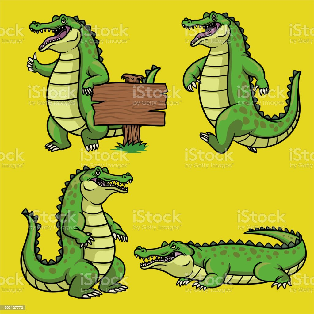 cartoon crocodile character in set vector art illustration
