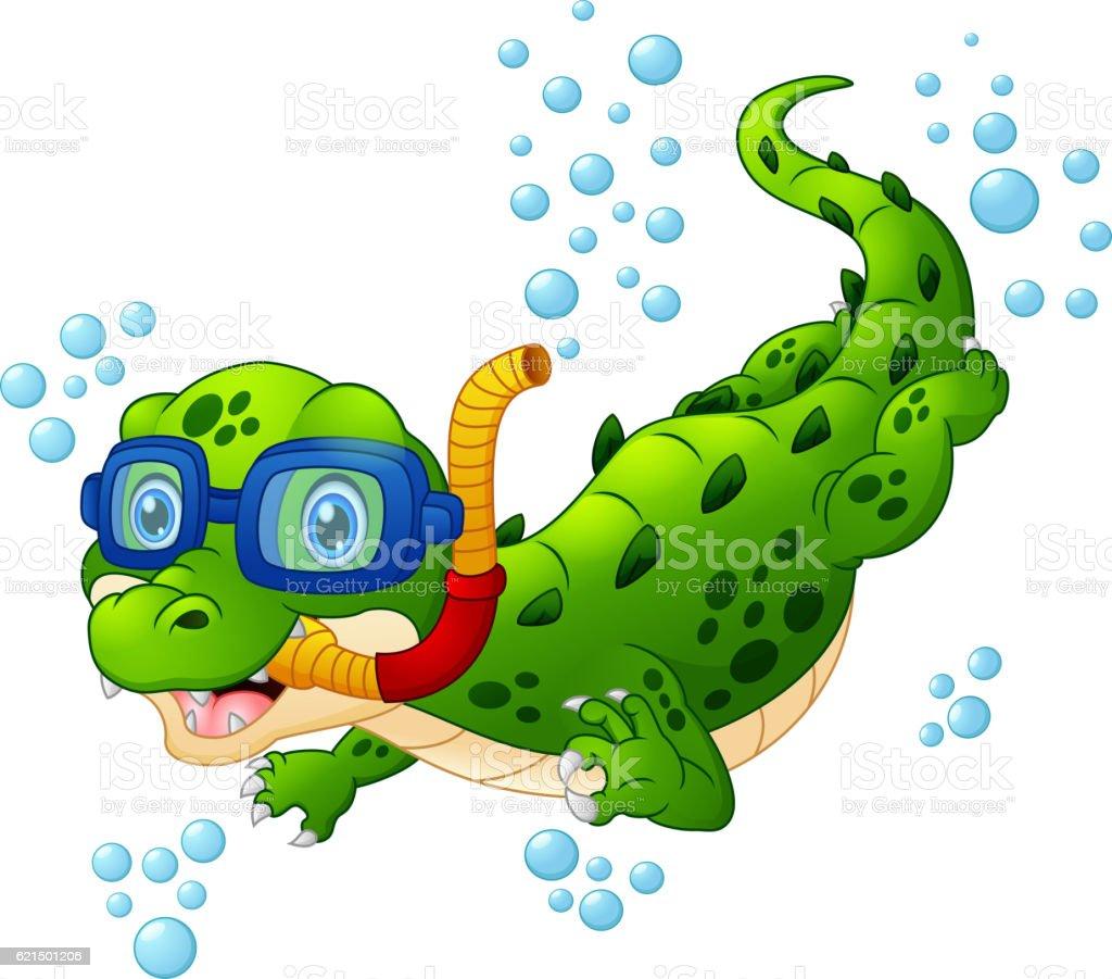 Cartoon crocodile diver cartoon crocodile diver - immagini vettoriali stock e altre immagini di animale royalty-free