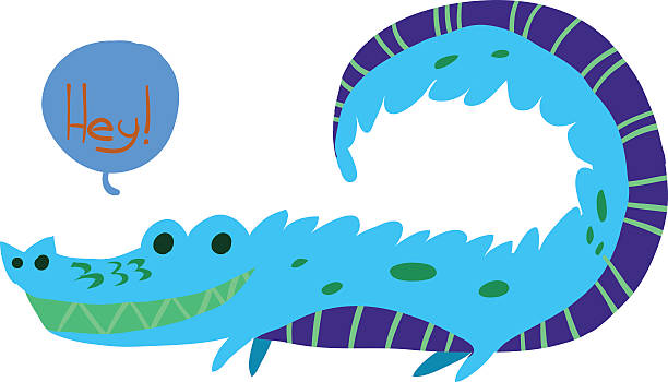Cartoon crocodile flat mascot icon. vector art illustration