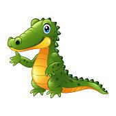 Vector illustration of Cartoon crocodile presenting