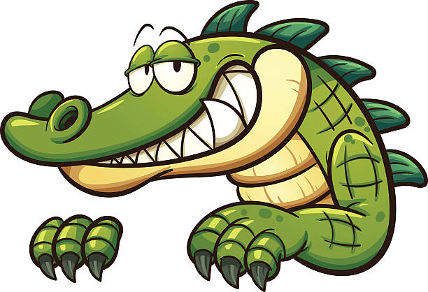 Cartoon crocodile Cartoon crocodile. Vector clip art illustration with simple gradients. All in a single layer.  crocodile stock illustrations