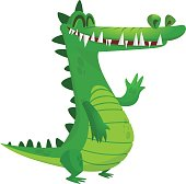 Cartoon crocodile. Vector raptor character icon