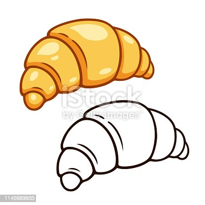istock Cartoon croissant drawing 1145689933