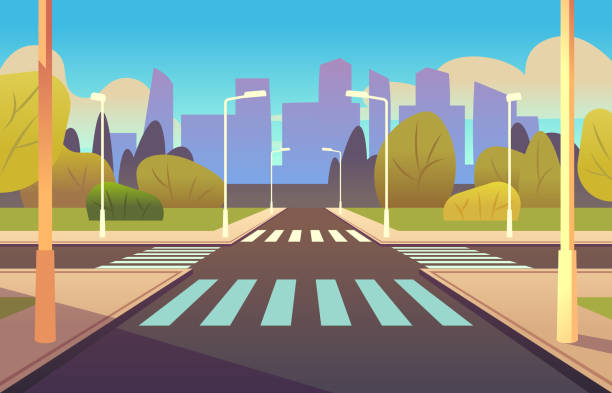 ilustrações de stock, clip art, desenhos animados e ícones de cartoon crosswalks. street road crossing highway traffic urban landscape building, crosswalk car, empty sidewalk - carro na rua