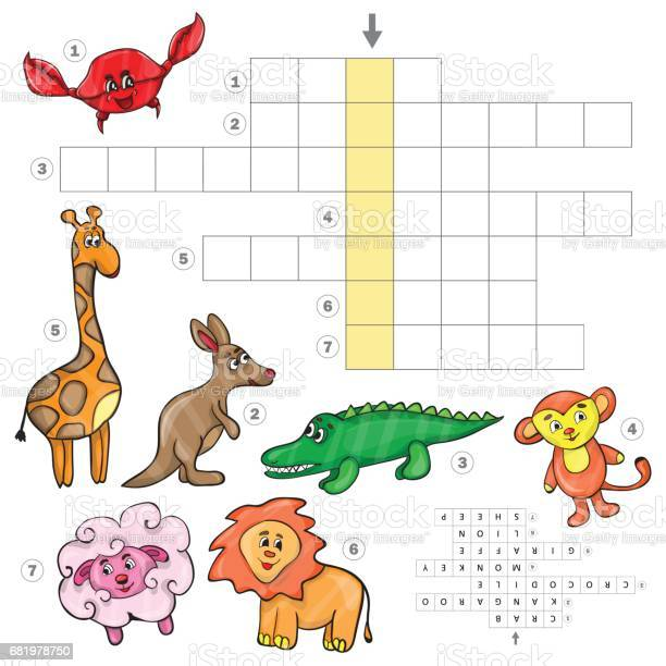 Cartoon crossword game with cute cartoon animals vector id681978750?b=1&k=6&m=681978750&s=612x612&h=c7czzro6ko7rzqwtmgtjqc7djjairwtqhi0zi0vn8ro=