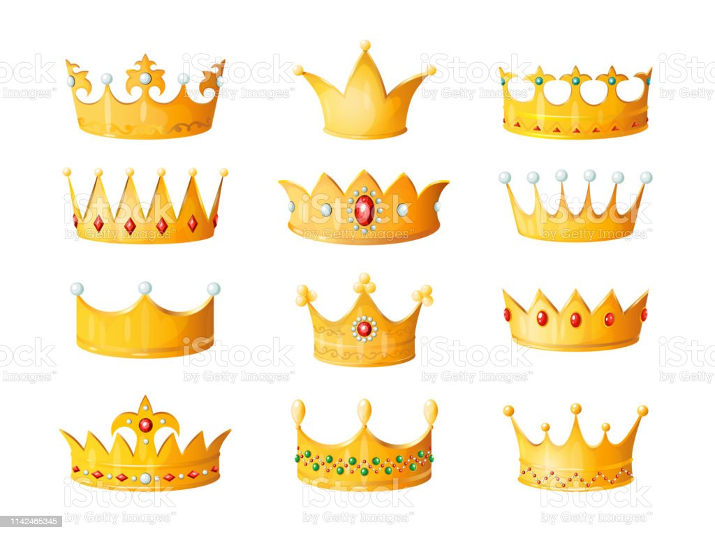 Cartoon Crown Golden Emperor Prince Queen Royal Crowns Diamond Coronation Gold Antique Tiara Crowning Imperial Corona Isolated Vector Stock Illustration Download Image Now Istock