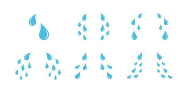 Cartoon cry tears icon set. Tear drops symbols Cartoon cry tears icon set. Tear drops symbols isolated on white background teardrop stock illustrations