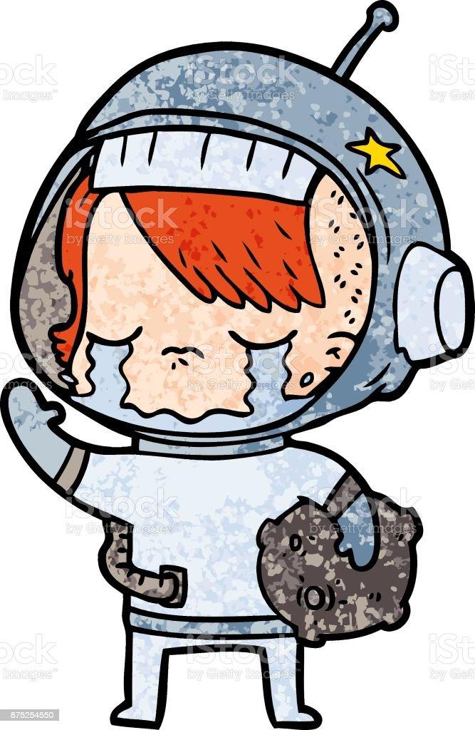 Ilustración De Dibujos Animados De Llorando Chica Astronauta Lleva