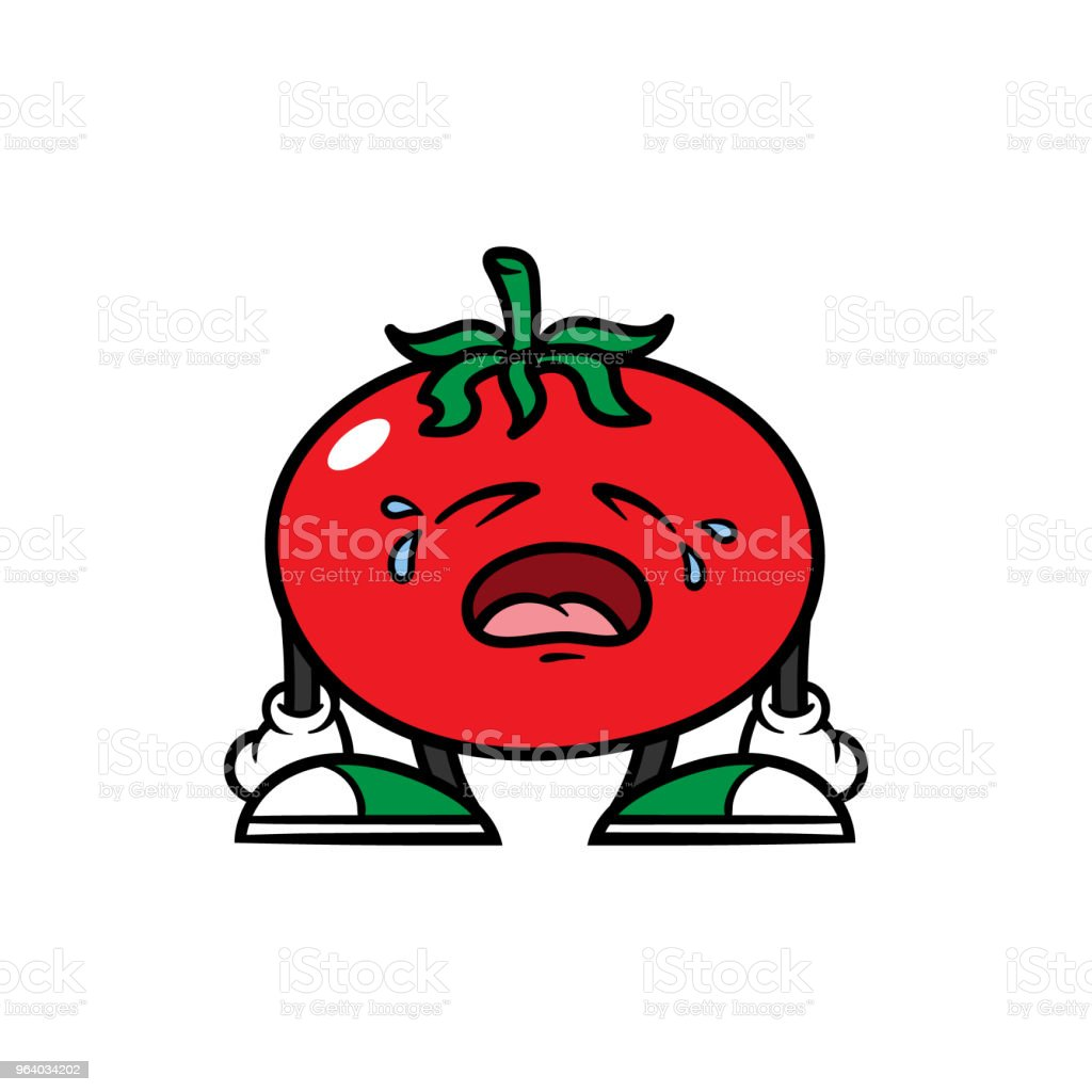 Cartoon Crying Tomato Character - Royalty-free Agriculture stock vector