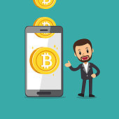 Cartoon cryptocurrency concept smartphone help businessman to earn money for design.