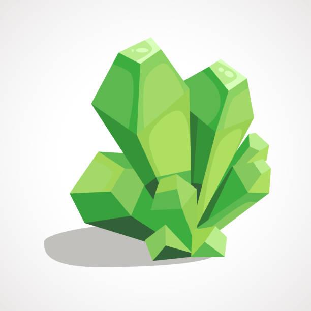 Cartoon crystal gemstone Cartoon green crystal jewelry is a precious stone. Vector illustration. crystals stock illustrations
