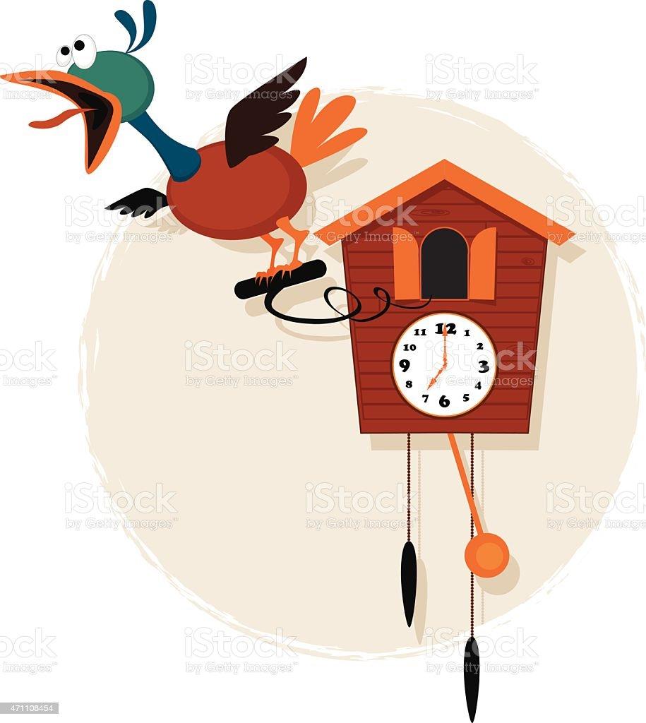 Cartoon cuckoo clock vector art illustration