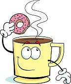 Cartoon cup of coffee dunking a doughnut.