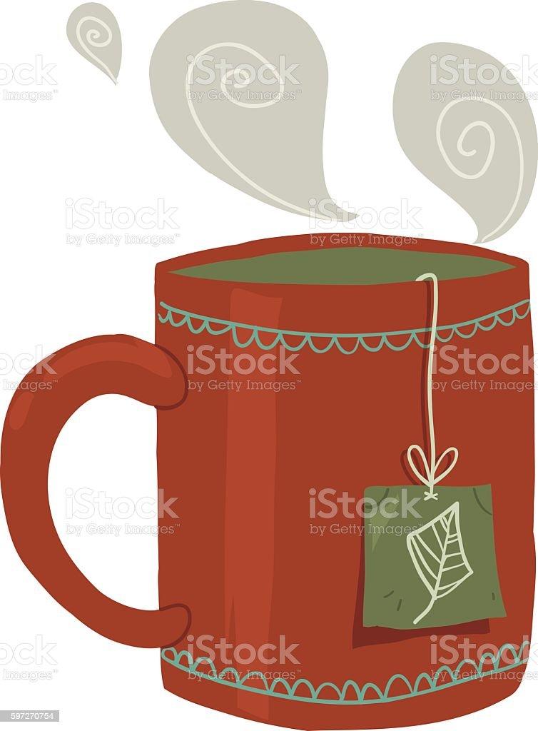 Comic Tasse Tee flache icon. Lizenzfreies comic tasse tee flache icon stock vektor art und mehr bilder von bildhintergrund